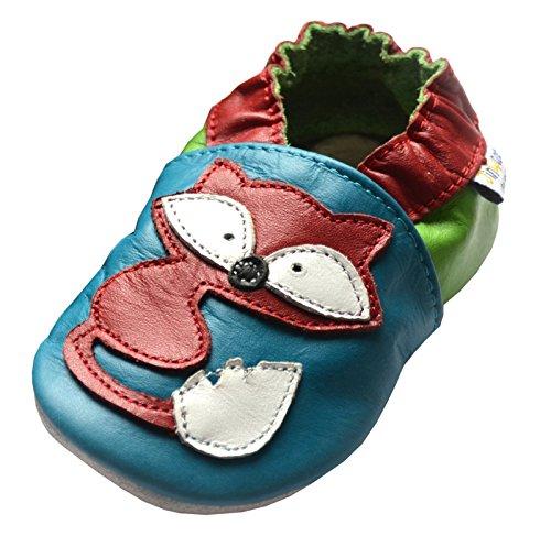 Jinwood designed by amsomo Verschiedene Modelle - Hausschuhe - Echt Leder - Lederpuschen - Krabbelschuhe - Mädchen - Jungen - Soft Sole - Mini Shoes Div. Groeßen 17/19-35/36 red fox soft sole