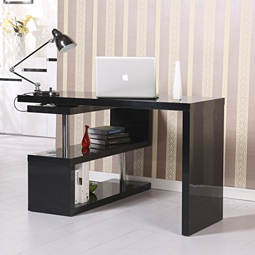 HomCom Rotating Office Desk and Shelf Combo - Black