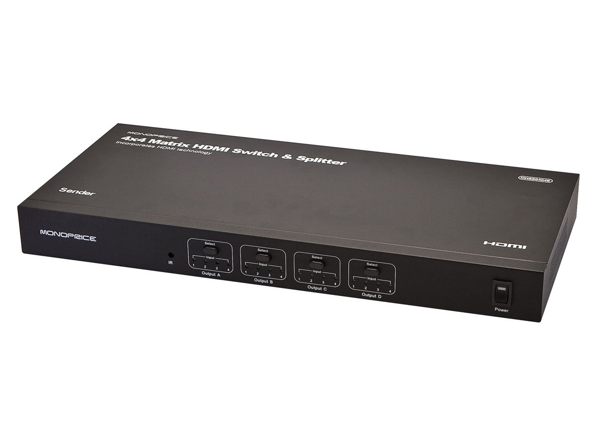 Monoprice 4x4 Matrix HDMI Switch & Splitter with Remote
