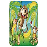 Rectangular Area Rug Mat Rug,Nursery,Two Monkeys Near the Banana Plant Tropical Nature Landscape Vine Funny Animals Apes Decorative,Multicolor,Home Decor Mat with Non Slip Backing
