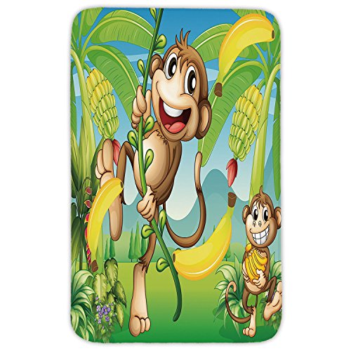 Rectangular Area Rug Mat Rug,Nursery,Two Monkeys Near the Banana Plant Tropical Nature Landscape Vine Funny Animals Apes Decorative,Multicolor,Home Decor Mat with Non Slip Backing by iPrint