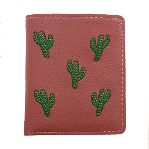 Kukoo Womens PU Leather Mini Wallet Cactus Zipper Purse Credit Card Holder for (Handbag Compact Zipper Wallet)
