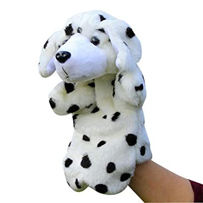 Sisyria Cute Animal Toys Small Dog Toy,Soft Plush Hand Puppet Soft Fluffy Dog Doll for Parent-Child Game, Children's Drama, Brain Game 25CM,Dalmatian: Home & Kitchen