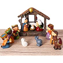 Unomor Shinning Nativity Scene Set for Kids Christmas decorations, Set Stable with Moveable Figures, Mary Joseph Wisemans Sheep Donkey Camel, Resin, 12 Pieces