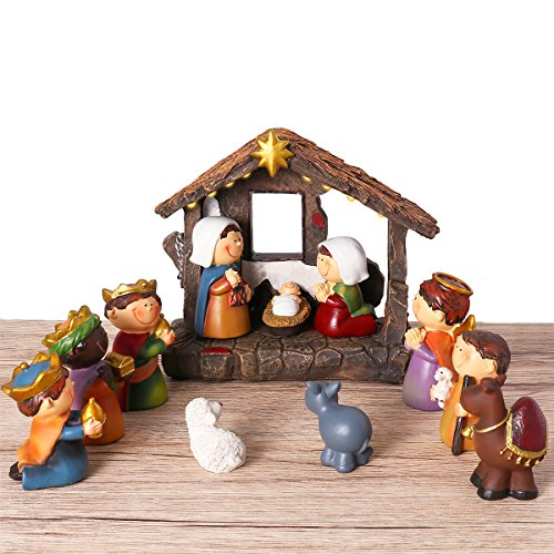 UNOMOR Shinning Nativity Scene Set for Christmas decorations, Set Stable with Moveable Figures, Mary Joseph Wisemans Sheep Donkey Camel, Resin, 12 Pieces