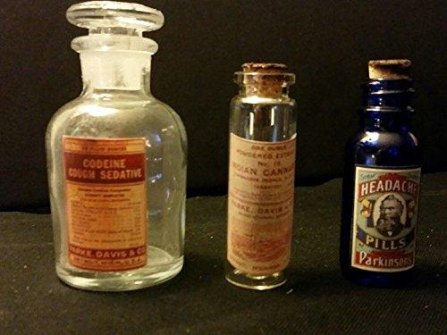 3 Vintage Style Glass Medicine Bottles Codeine, Cannabis & Headache Handcrafted by Artist ()