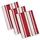 DII Design Imports Gourmet Stripe Herringbone Dishcloth Set of 3 (Sun Dried Tomato)