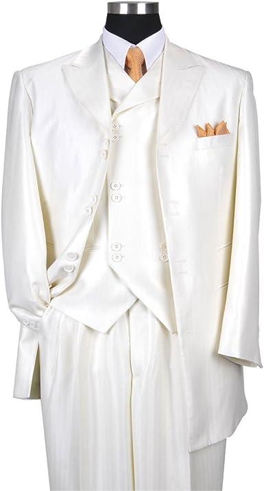 Milano Moda Mens 3 Piece Set Luxurious Wool Feel Suit HL5264 New York Brand
