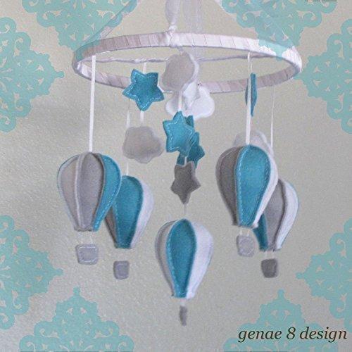 Robins Egg Blue & Grey Felt Hot Air Balloon Baby Mobile- Felt Baby Mobile ()