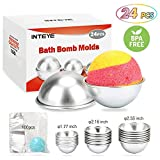 Bath Bomb Mold, 24 PCS 3 Size Metal Bath Bomb Molds with 100 PCS 6 X 4.3 Inch Shrink Wrap Bags for Crafting Your Own Fizzles
