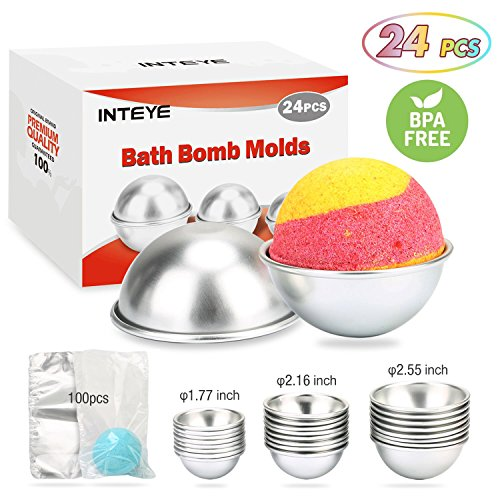 Bath Bomb Mold, 24 PCS 3 Size Metal Bath Bomb Molds with 100 PCS 6 X 4.3 Inch Shrink Wrap Bags for Crafting Your Own - Springs Disney Hours Stores