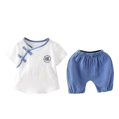 Conjuntos Bebe Niño Camisetas De Lino + Pantalones Cortos Ropa ...