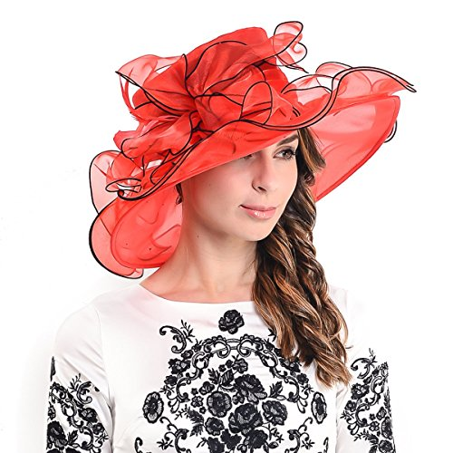3f8586af Womens Kentucky Derby Church Dress Wedding Floral Tea Party Hat S056 (Red)  by HISSHE