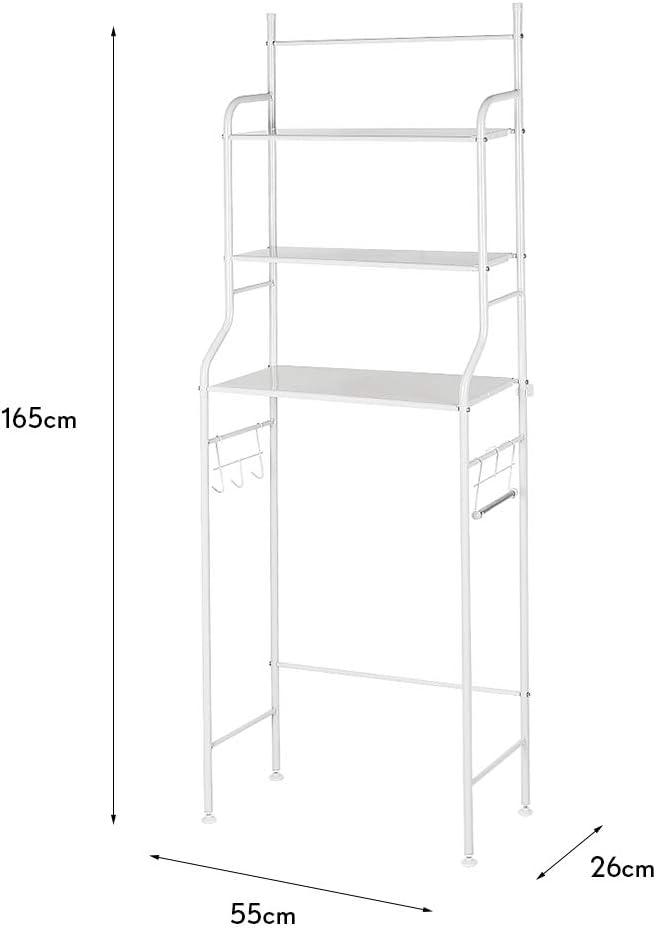 Mueble Estanter/ía Ba/ño Encima WC 3 Niveles para Toalla de Ba/ño Organizador de Art/ículos de Tocador Blanco
