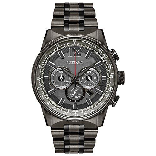 Men's Citizen Eco-Drive Nighthawk Grey Stainless Steel and Grey Dial Watch - Citizen Nighthawk Watch