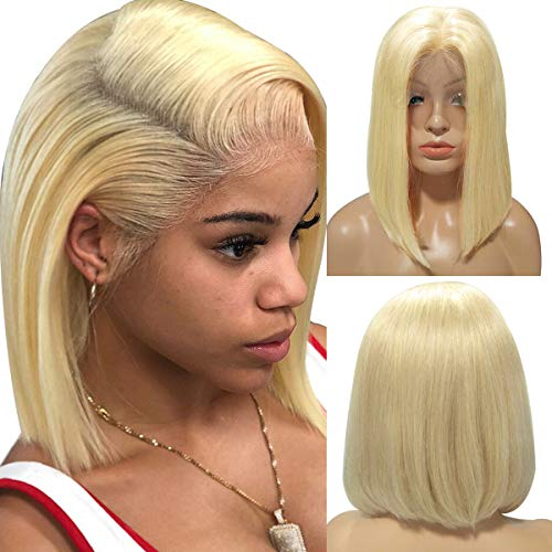 BESFOR Short Bob Lace Front Wigs Human Hair Glueless 13x4 Straight Lace Wigs #613 Blonde Color for Black Women Slightly Bleached Knots 8inch 150% Density