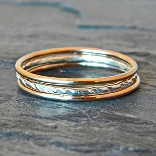 amazon   silver and gold rings sterling silver