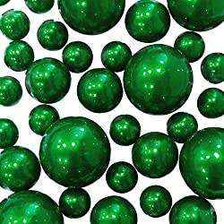 2 X 80 Christmas/Kelly Green Pearls - Jumbo & Assorted Sizes Vase Fillers for Decorating Centerpieces - to Float The Pearls Order The Transparent Water Gels