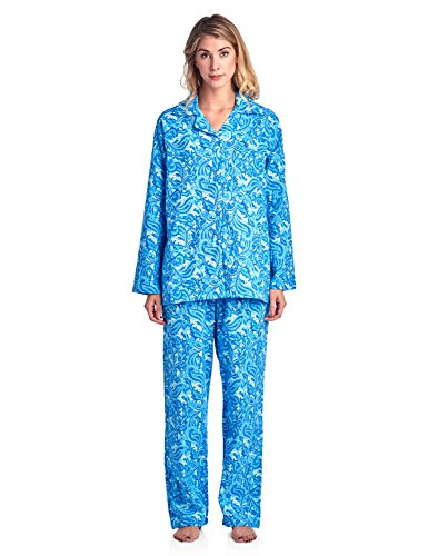 Casual Nights Women's Flannel Long Sleeve Button Down Pajama Set - Paisley Blue - Small ()