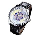 Youyoupifa Men's Precise Skeleton Black Leather Strap Automatic Mechanical Watch (black)