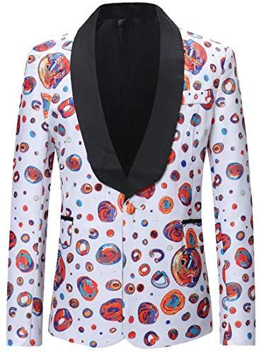 Collar One Blazer Mstyle Print Casual UK Men 1 Fashion Coat Down Button Turn Floral Jacket 0ZxFHwZ