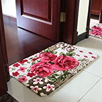 Sytian® 15.75*23.62 Inch Rural Rug Rose Flower Rug Decorative Doormat Floor Mat Bath Mat Bedroom Carpet Shaggy Area Rug Bathroom Shower Rug (Pretty Rose Flowers)