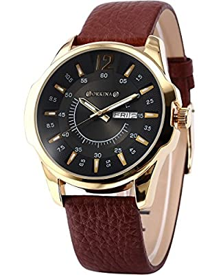 ORKINA Elegant Black Dial Date Day Display Leather Mens Quartz Dress Wrist Watch Gift ORK144