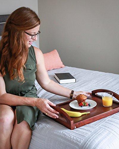 BirdRock Desk Bed Breakfast Wide Handles   Folding Legs Drink Tray   Walnut