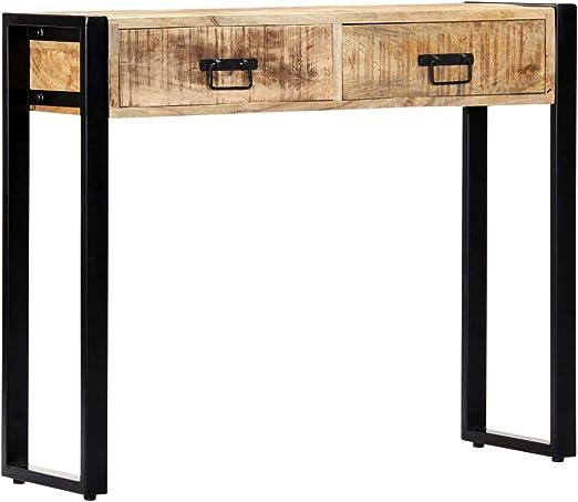Festnight Mueble Recibidor Consola Consola Recibidor Escritorio con Ccajones Mesa Consola de Madera Maciza de Mango 90x30x75 cm: Amazon.es: Hogar