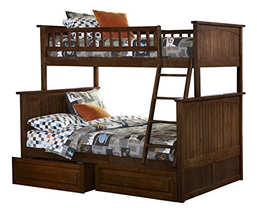 Atlantic Furniture AB59224 Nantucket Bunk Bed with 2 Raised Panel Bed Drawers, Twin/Full, Walnut