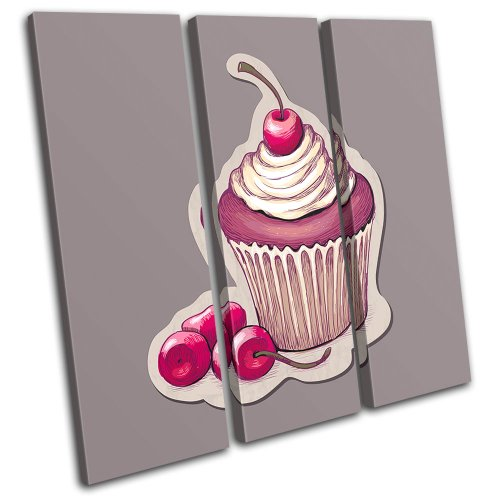 Bold Bloc Design - Cherry Cupcake Food Kitchen - 90x90cm Canvas Art Print Box Framed Picture Wall Hanging - Hand Made In The UK - Framed And Ready To Hang