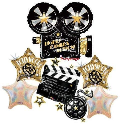 HOLLYWOOD BALLOONS BOUQUET DECORATIONS MOVIE STAR BIRTHDAY PARTY GRADUATION -