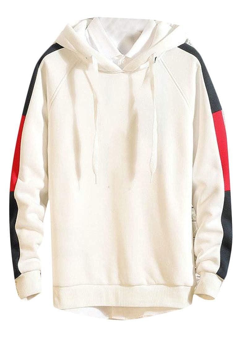 Lutratocro Mens Hooded Pullover Color Block Fall Winter Drawstring Sweatshirt