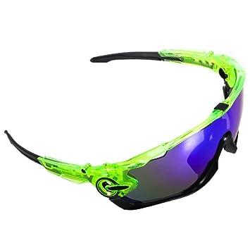 GIEADUN Road Mountain Ciclismo Gafas Gafas de Ciclismo polarizados Gafas de Sol Bicicleta, con 5 Lentes Intercambiables (Verde y Negro): Amazon.es: Deportes ...