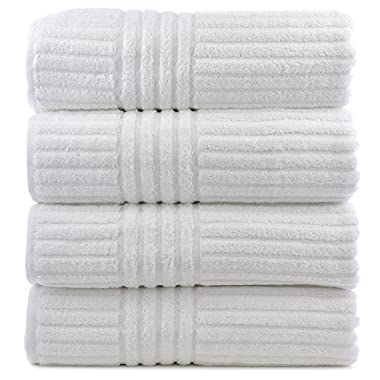 Bare Cotton Luxury Hotel and Spa Bath Towels, Striped, White, Set of 4