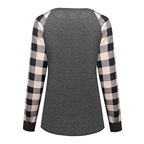 semen Haut Simple Casual Automne Gym Manche Carreaux Couture Sweat Longue Top Printemps Blouse Sport Shirt T Confort Femme Kaki Shirt Loisir 7TrHX7q