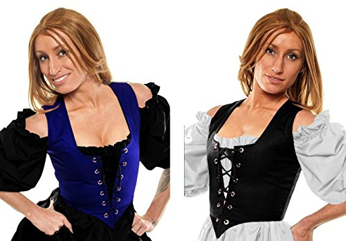 Renaissance Halloween Costume Belle Princess Peasant Wench Bodice Blue/Black (3X:Bust: 53
