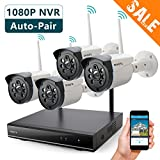 ONWOTE 1080P HD NVR Outdoor Wireless Home Security Camera System WiFi with...