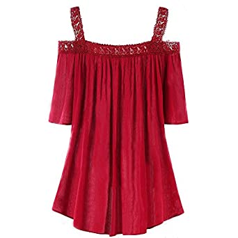 MURTIAL Women Plus Size Solid Lace Patchwork Ruched Blouse Short Sleeve Tops Cami Shirt
