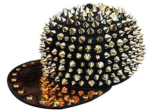 MINAKOLIFE Spike Studded Accessories Punk Hats Adjustable Cap Bright Brim - Punk Accessories Daft