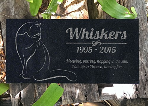 Cat Memorial Personalized Black Granite Stone 12 X 6 Bereavement in Memory Loss of Pet Cat Garden Stone
