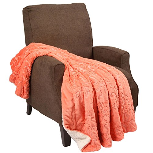 Home Soft Things Boon Jumbo Embroidery Batik Sherpa Throw Blanket, 60