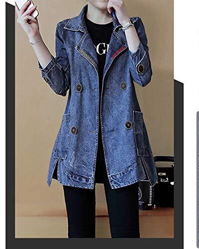 Fashion Giacche Vintage Lunga Denim Ragazze Moda Bavero Festa Autunno Outerwear Style Donna Giacca Allentato Cappotto Double Manica Blau Alla Jeans Eleganti Da Breasted Primaverile E5qtx
