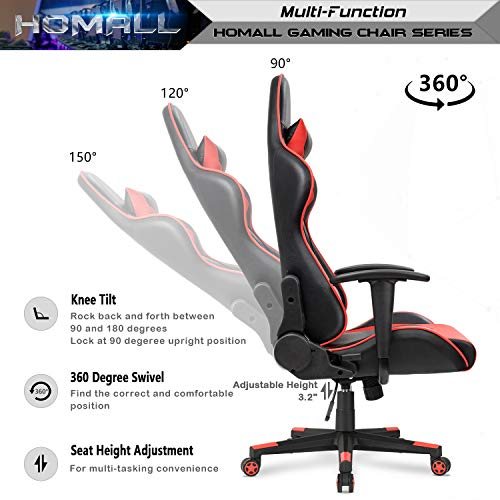 Homall Gaming Chair Racing Style High-Back Faux Leather Office Chair Computer Desk Chair Executive and Ergonomic Style Swivel Chair with Headrest and Lumbar Support(Red) by Homall (Image #5)
