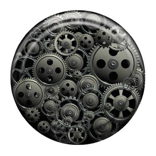 33'' ColorTek Rigid Tire Cover (Hard Plastic Face w/ Fabric Vinyl Band) - Steam Punk Gears