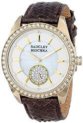 Badgley Mischka Women's BA/1316WMBN Swarovski Crystal Accented Gold-Tone Brown Snakeskin Strap Watch