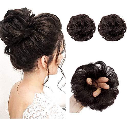 AISI QUEENS 100% Human Hair Bun Extensions 2PCS Curly Wavy Messy Bun Hair Extension Scrunchies Elegant Chignons Wedding Hair Piece for Women and Kids(Color:Natural color) (Buns Hair Human Extensions)