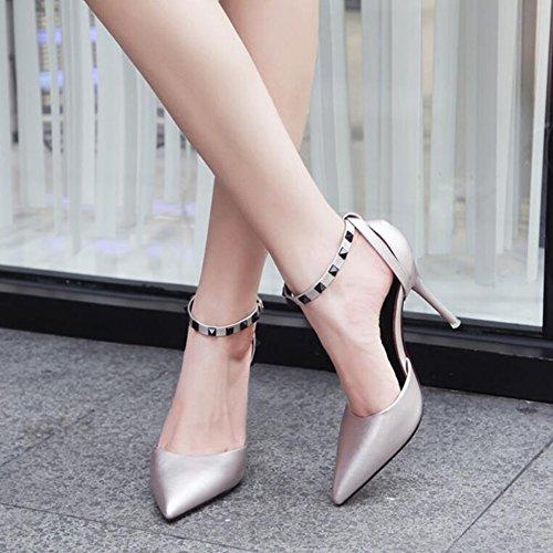 Banquet Bouche Rivets Hauts Mot Discothèques Chaussures Girls 9cm Court Mode Féminine Black Lady Boucle à De Pour Conseils Talons La Profonde Peu Sandales Pompes 0nfqRv