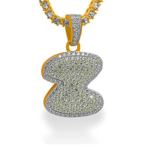 925 Sterling Silver Yellow Gold-Tone Iced Out Hip Hop Swag Bling Bubble Letter Z Pendant with 18'' 1 Row Chain by iRockBling