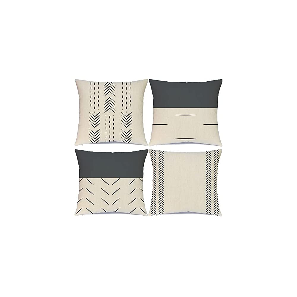 Hlonon Decorative Boho Throw Pillow Covers Set of 4 Modern Design Geometric Stripes Farmhouse Linen Neutral Pillow Cover…